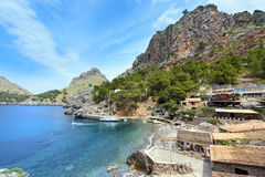 Village Sa Calobra on the coast of the Mediterranean sea. Island Majorca, Spain. Sa Calobra is a small port village in the Escorca municipality on the northwest Royalty Free Stock Photos