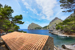 Village Sa Calobra on the shore of the Mediterranean sea. Island Majorca, Spain. Sa Calobra is a small port village in the Escorca municipality on the northwest Stock Photos