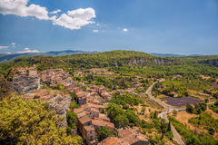 Village of Saignon with lavender field in the Luberon, Provence, France Stock Images