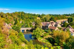 Village of Saint-Céneri-le-Gérei in Normandy France royalty free stock photo