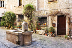 Village of Saint-Paul. Fresh water fountain in the centre of the quaint little French hilltop village of Saint-Paul de Vence, Southern France, Alpes Maritimes Stock Photo