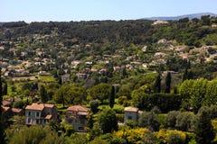 Village Saint-Paul-de-Vence , Provence, France. Beautiful panorama hill landscape near the village Saint-Paul-de-Vence , Provence, South France Stock Photos