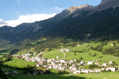 The village of San Carlo on Poschiavo valley Stock Images