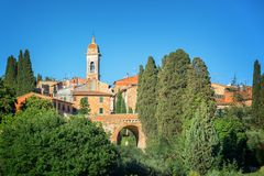 Village of San Quirico d`Orcia, Tuscany Italy. Village of San Quirico d`Orcia, Tuscany, Italy Royalty Free Stock Images