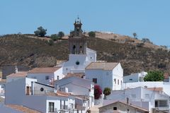 The village of Sanlucar de Guadiana, on the Spanish shore of Rio royalty free stock images