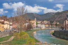 The village Santa Sofia, Forli, Emilia Romagna, Italy. Landscape of the little town Santa Sofia with the river and the Apennine mountains in province of Forli Royalty Free Stock Image