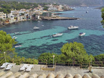 Village Santelmo, Mallorca, Spain. A View of the port of Santelmo, from a house on top of the cliff Royalty Free Stock Photos