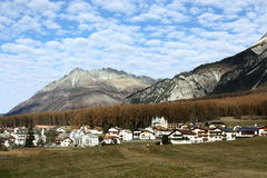Village in Saouth Tyrol, Italy. Landscape with a village and beautiful nature in South tyrol, Italy stock image
