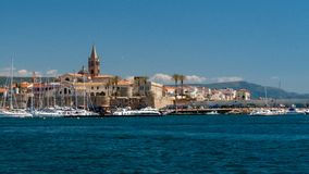 Village in sardinia italy. taken from the sea royalty free stock image