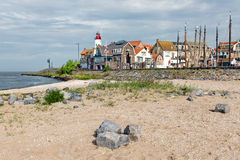 Village scene form beach of Urk, old Dutch fishing village Royalty Free Stock Image