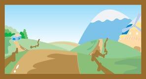 03 Village Scene. Village Scene fun Cartoon book royalty free illustration