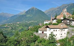 Village of Schenna,south Tyrol,Italy. Village of Schenna near Merano with Dorf Tirol in Background,South Tyrol,Trentino,Alto Adige,Italy stock photography