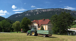 Village school in the Alps mountains Stock Photography