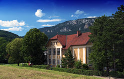 Village school in the Alps mountains royalty free stock photo