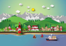 Village and sea bay. Illustration of village and sea bay.paper cut style Stock Image