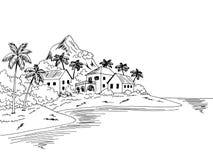 Free Village Sea Graphic Black White Bay Landscape Sketch Illustration Vector Stock Images - 170546694