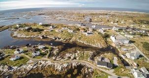 Village and Sea in small island, Norwegian Sea stock photo