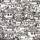 Village seamless pattern. Hand drawn vector seamless pattern with village houses and tree. Sketch style. Drawing by hand Royalty Free Stock Image
