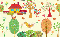 Village seamless pattern with trees Stock Images