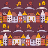 Village seamless pattern. Vector illustration Stock Images