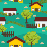 Village Seamless Pattern. Vector seamless pattern village scenery Royalty Free Stock Images