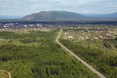 The village Seimchan. Aerial view of the village Seimchan. Magadan Region, Russia Stock Images