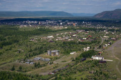 The village Seimchan. Aerial view of the village Seimchan. Magadan Region, Russia Royalty Free Stock Photo