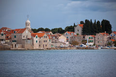 Village Sepurine, Prvic island, view from the sea Stock Photo