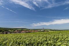 Sermiers Champagne. The village of Sermiers in the Champagne districht near Epernay in France with vineyards, houses and the church on a summers day Royalty Free Stock Image
