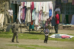 Village setting with laundry on line in Great Rift Valley, near Nairobi, Kenya, Africa Royalty Free Stock Images