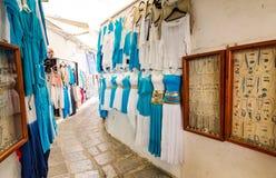 Village shopping street in Lindos Stock Image