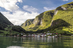 Village on the shore of a lake Royalty Free Stock Images