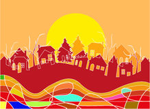 Village silhouette Royalty Free Stock Image