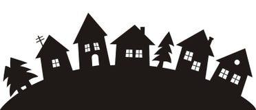 Village, silhouette noire illustration de vecteur