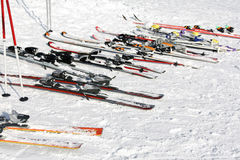 At the village skiing station Royalty Free Stock Photos