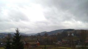 Village sky cloud winter stock video