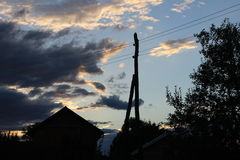 Village sky. Sunset at old village far away from city Royalty Free Stock Photo