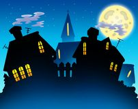 Village skyline night silhouette Stock Photography