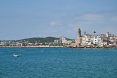 Village skyline at Sitges, Spain Stock Images