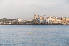 Village skyline at Sitges, Spain Royalty Free Stock Photography
