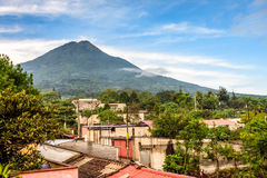 Village on slopes of Agua volcano in Guatemala. Village on slopes of Agua volcano near Antigua, Guatemala, Central America stock image