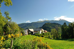 Alps Village. Slovenian village is a good place for relax Royalty Free Stock Image