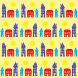 Village, small town at daylight, seamless pattern. Seamless pattern with little colorful houses like a village or small town in sunny day Royalty Free Stock Images