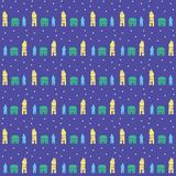 Village or small town at night, seamless pattern Stock Photography