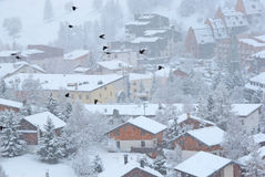 Village in snow Stock Photos