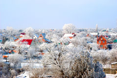 Village in a snow. The village covered by a snow Royalty Free Stock Photos