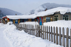 The village of snow. China north Heilongjiang winter village Royalty Free Stock Photo
