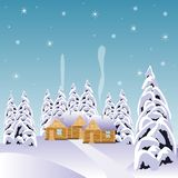 Village in snow wood Stock Photography