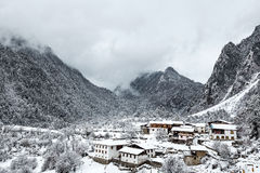 Village in snow. Village in snow in yunnan china Stock Image