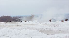 Village Sokolovo, Kharkiv region, Ukraine - March 9: Reconstruction of the Battle of the Second World War near the stock video
